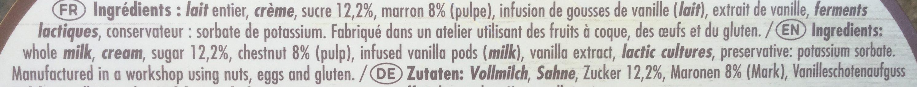 Le yaourt aux fruits, marron - Ingredients