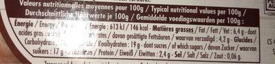 Le yaourt aux fruits, marron - Nutrition facts