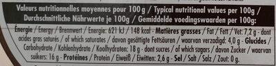 Le yaourt aux fruits, marron - Informations nutritionnelles - fr
