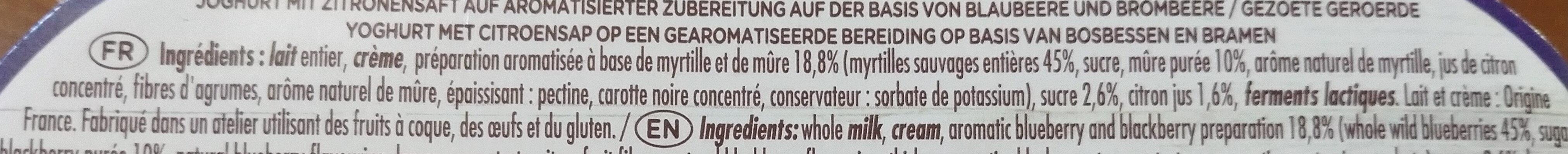 Yaourt bicouche mûre myrtille - Ingredients - fr