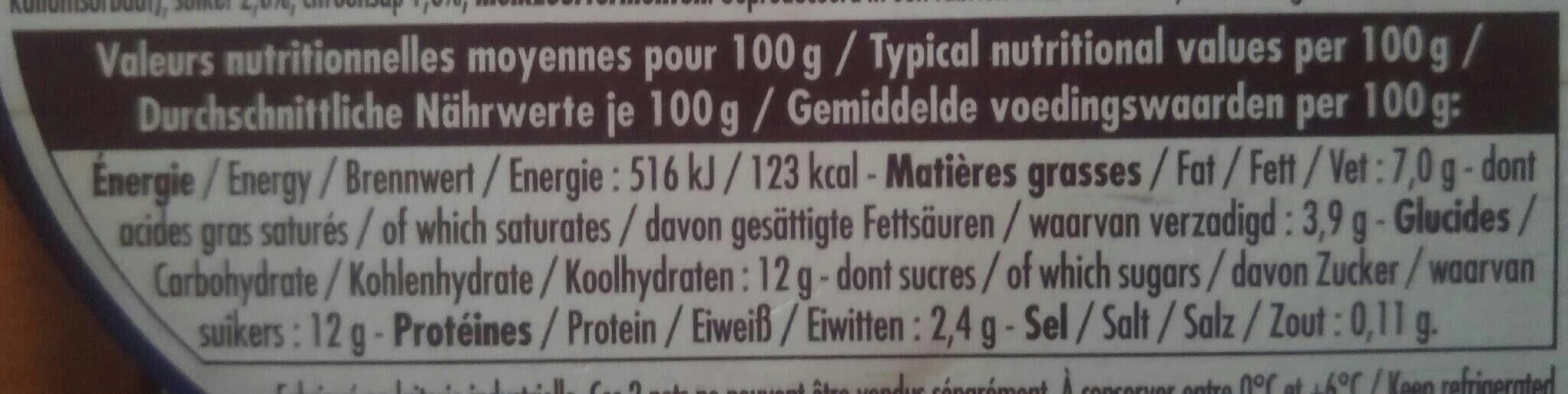 Yaourt bicouche mûre myrtille - Nutrition facts - fr