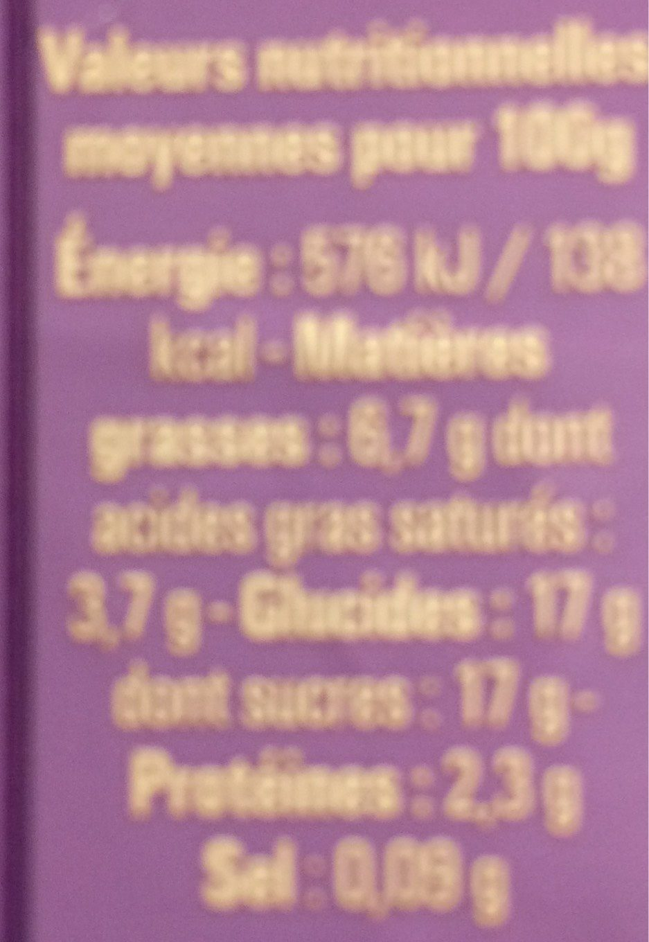 Le yaourt aux fruits Figue Miel - Nutrition facts - fr