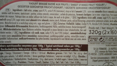 Yaourt onctueux - Nutrition facts