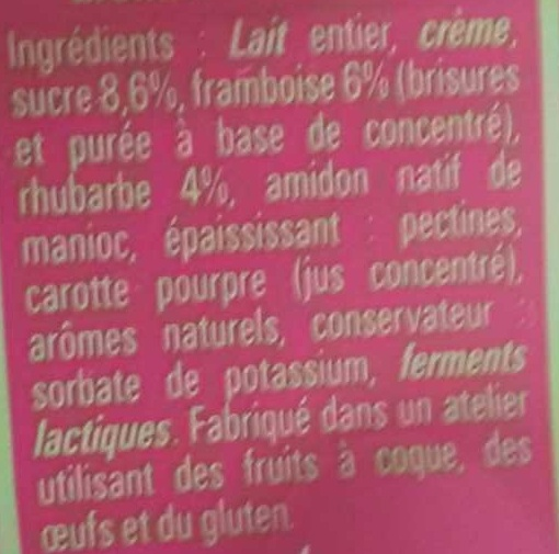 Yaourt aux fruits : framboise rhubarbe - Ingrédients - fr