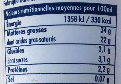 Crème fraîche epaisse entière - Informations nutritionnelles