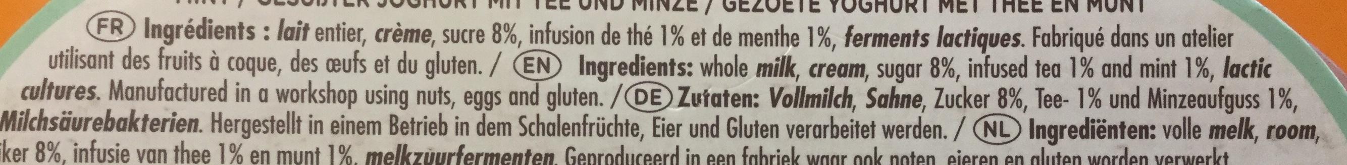 Thé menthe - Ingredients