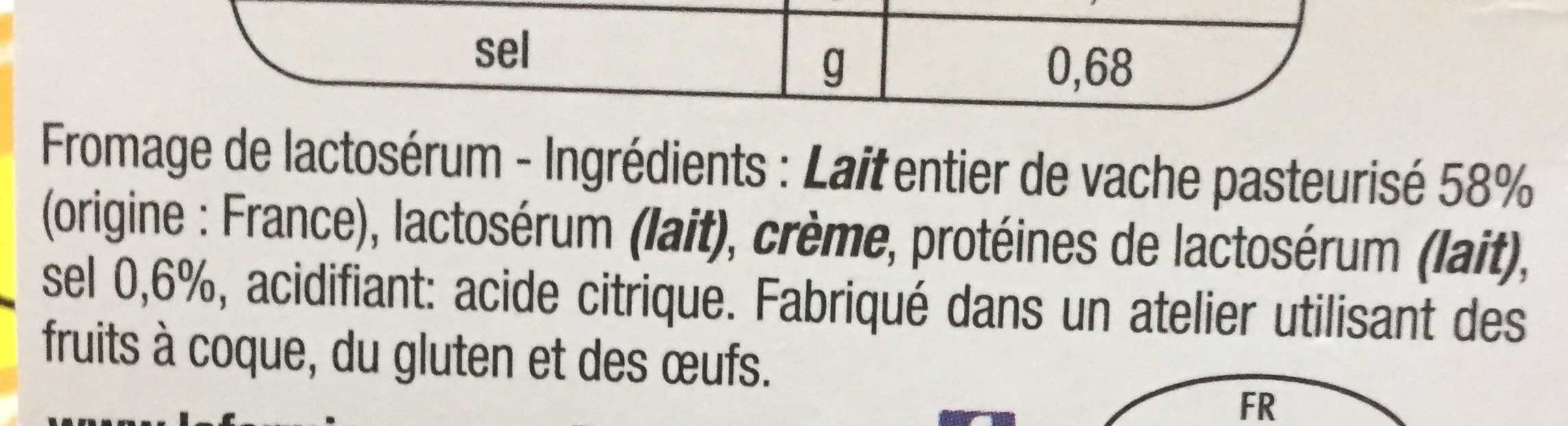 Brousse - Ingredients - fr