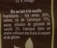 Le Riz au Lait à la Vanille de Madagascar - Ingredients - fr