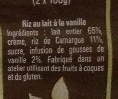Le Riz au Lait à la Vanille de Madagascar - Ingrédients - fr