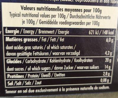 Le Riz au Lait à la Vanille de Madagascar - Nutrition facts - fr