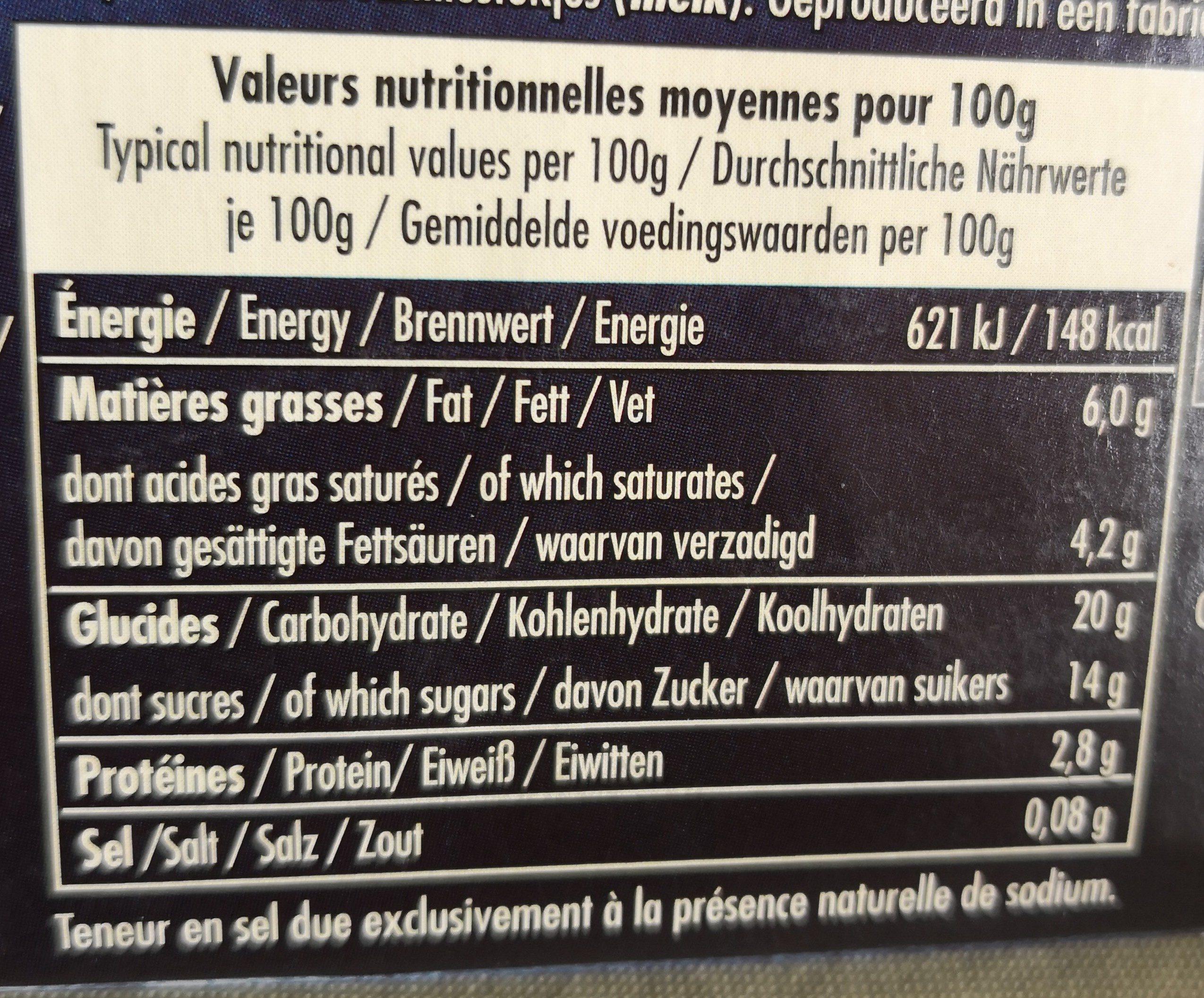 Le Riz au Lait à la Vanille de Madagascar - Informations nutritionnelles - fr
