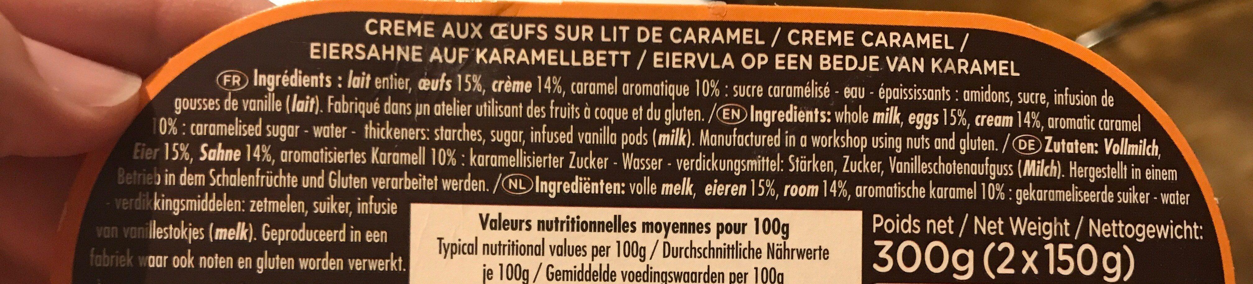 La crème aux oeufs - Ingrédients