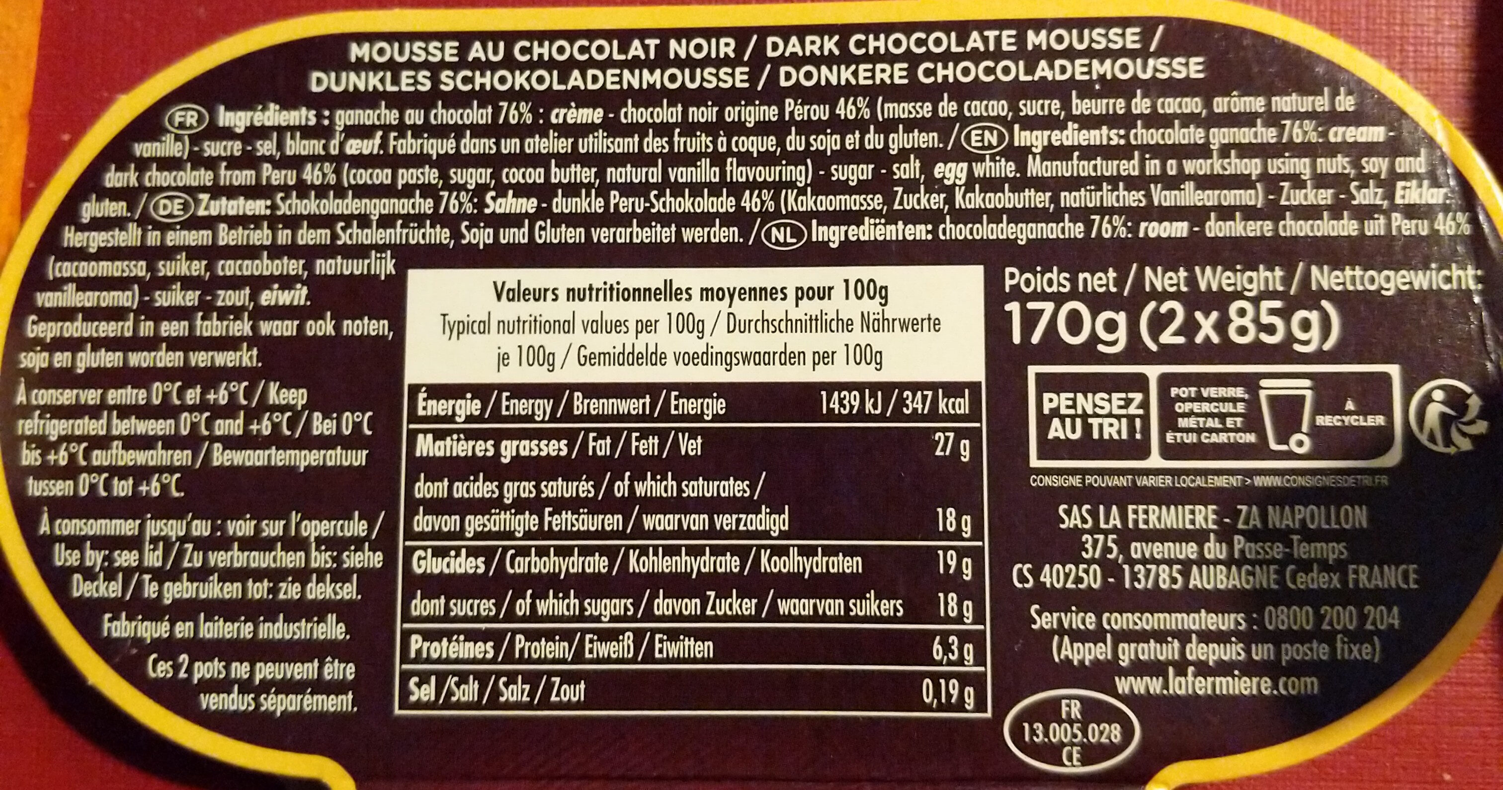 La Mousse au Chocolat Noir Pérou - Ingredients - fr