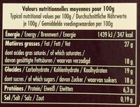 La Mousse au Chocolat Noir Pérou - Nutrition facts - fr