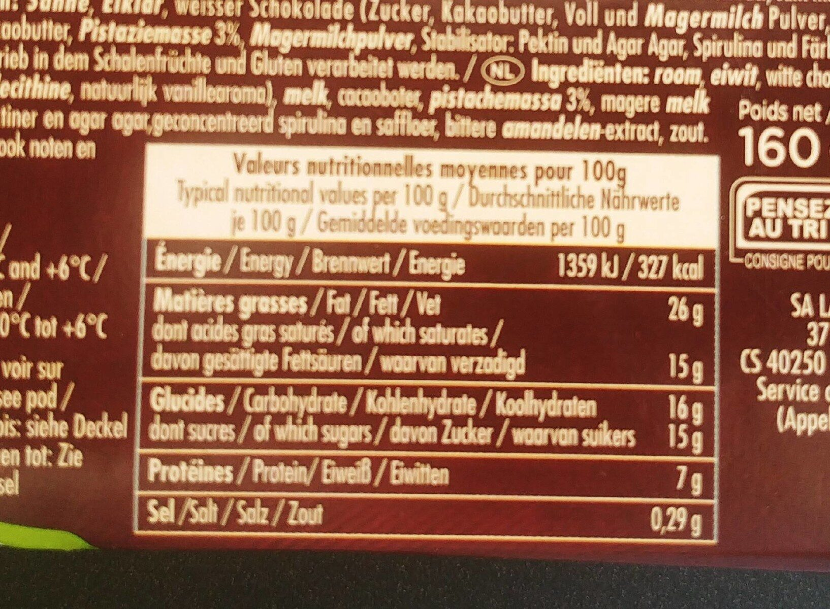 La mousse à la pistache - Nutrition facts