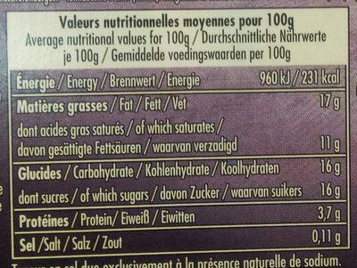 Le Liégeois au Chocolat - Voedingswaarden - fr