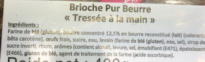 Brioche Tressée Pur Beurre 400g - Ingrédients - fr