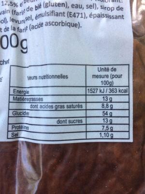 Brioche Tressée Pur Beurre 400g - Informations nutritionnelles - fr
