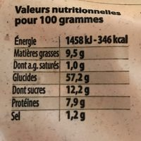 La brioche tranchée familiale - Informations nutritionnelles
