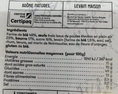 Brioche vendéenne - Nutrition facts - fr