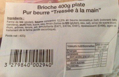 """Brioche plate pur beurre """"Tressée à la main"""" - Product - fr"""