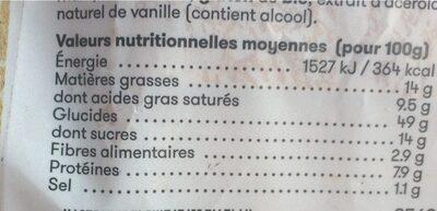 Brioche Tressée Tranchée 500g - Informations nutritionnelles - fr