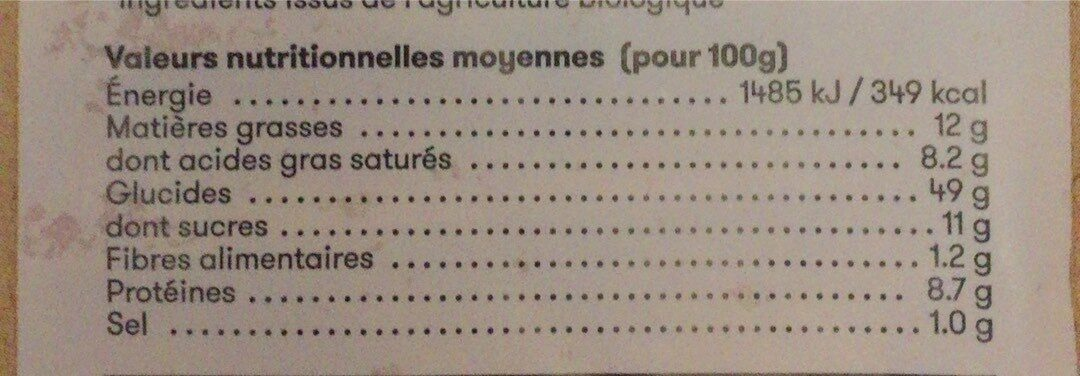 Brioche tranchée bio - Valori nutrizionali - fr