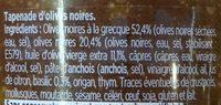Tapenade d'Olives Noires à l'huile d'olive vierge extra - Ingrédients - fr