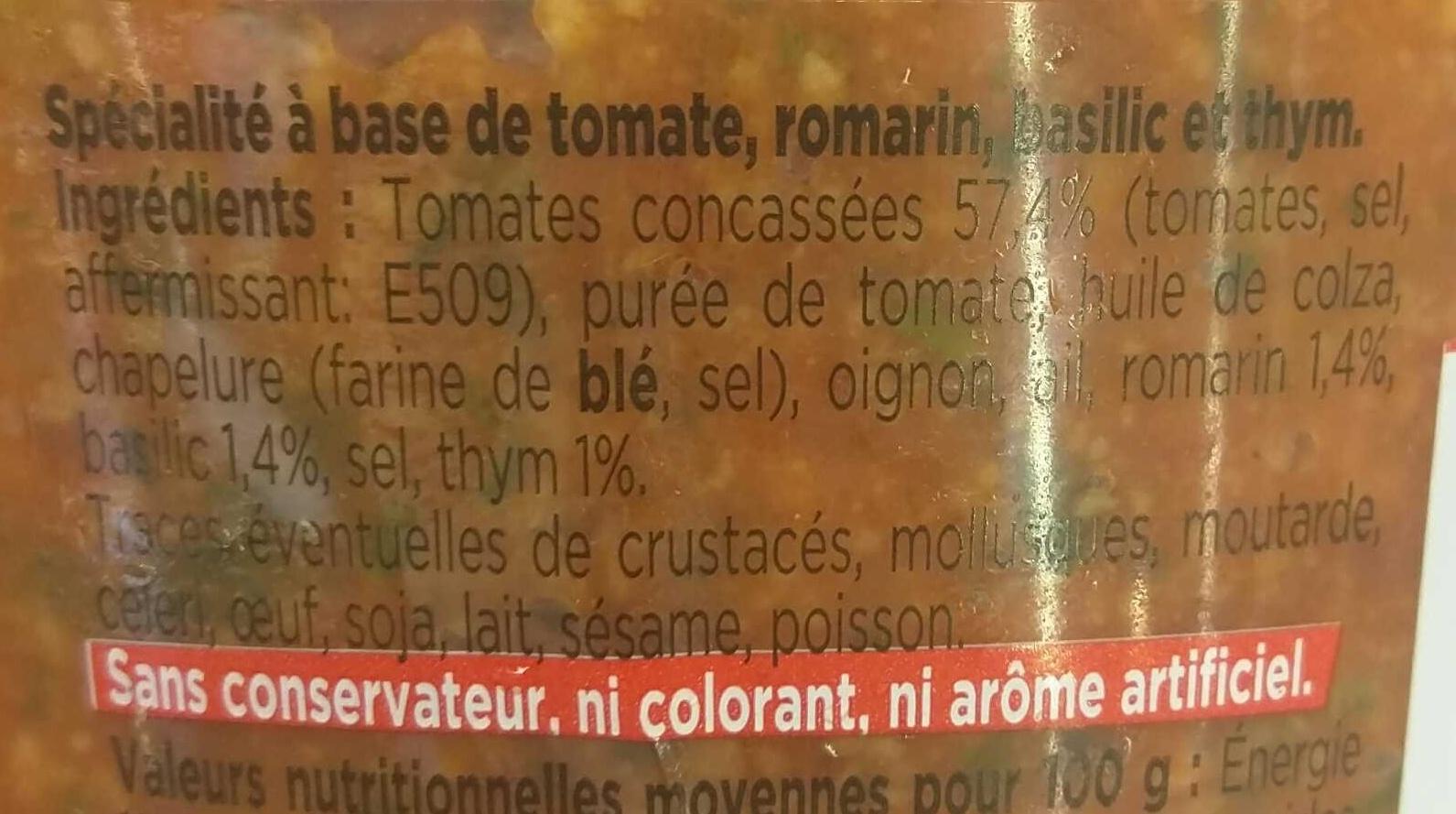 Caviar de Tomates au thym & au basilic - Ingrédients - fr