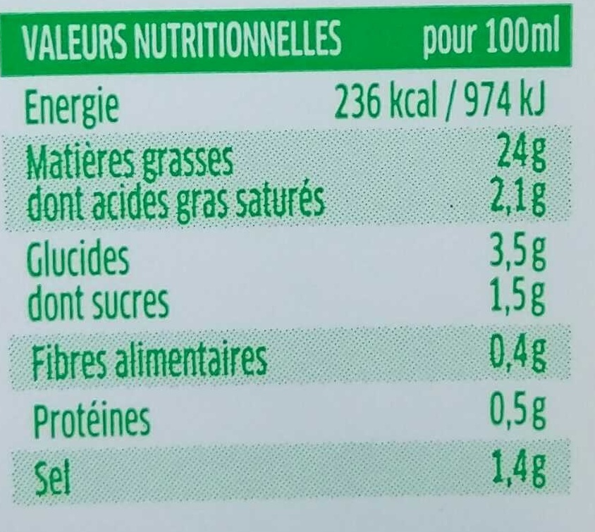Sauce Fines Herbes - Nutrition facts - fr