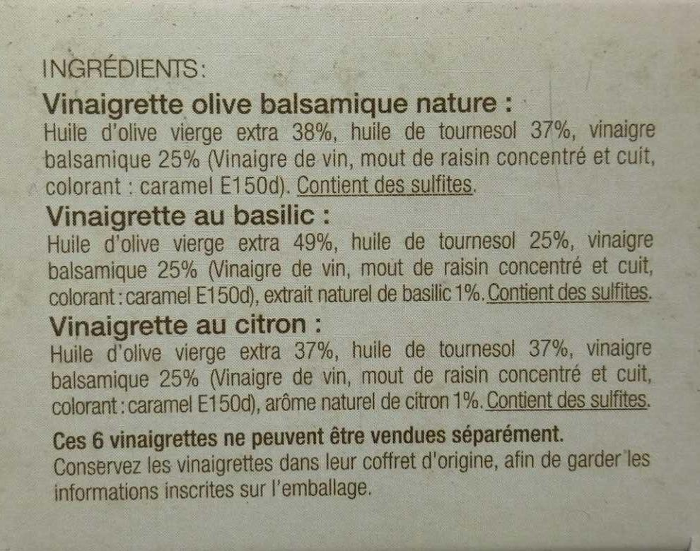 6 Vinaigrettes - Ingrediënten - fr