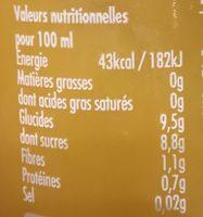Orange pressée - Nutrition facts