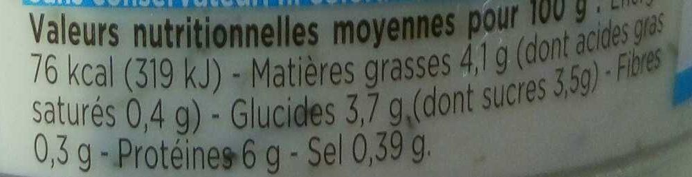 Tzatziki aux concombres frais - Informations nutritionnelles - fr