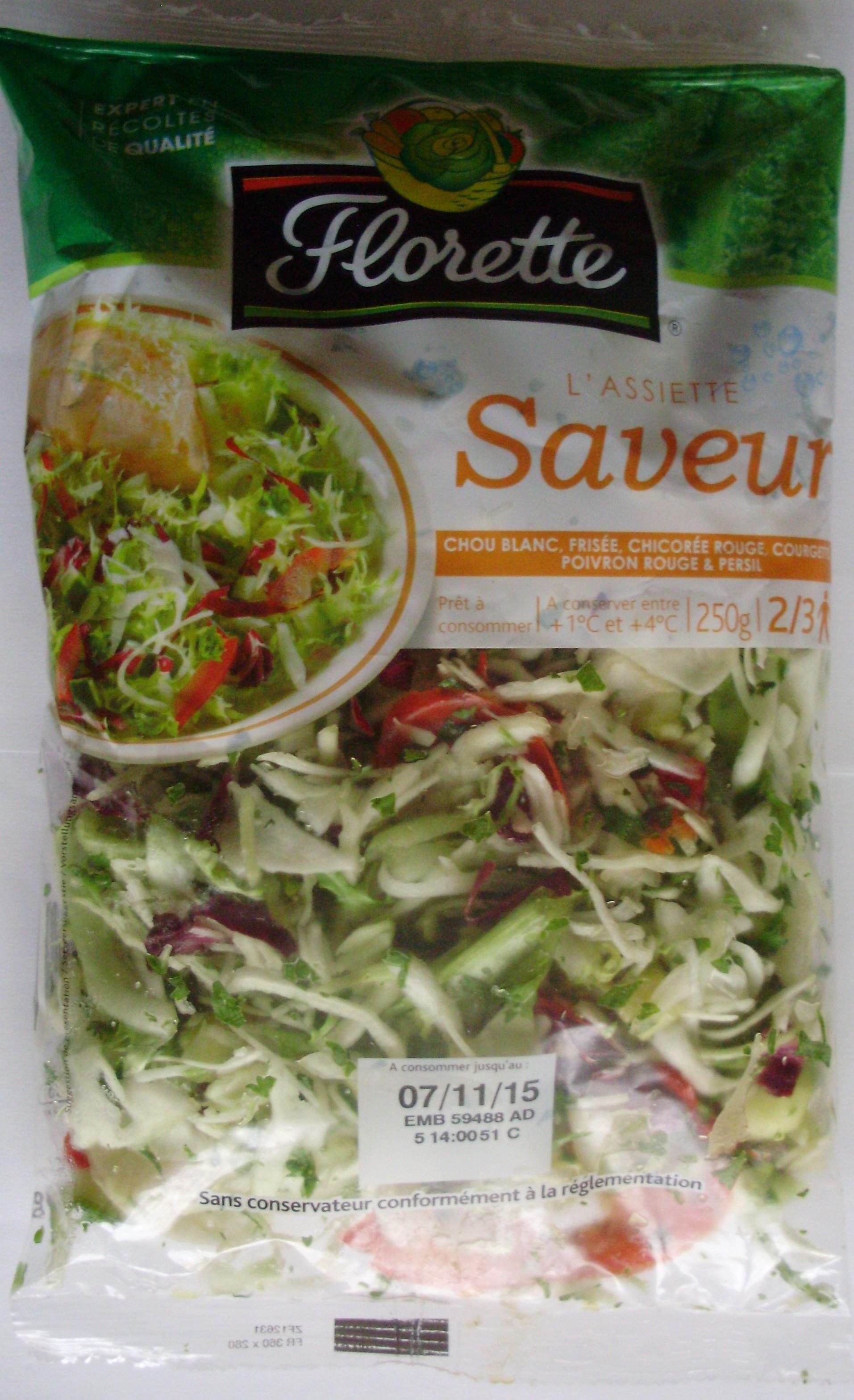 L'assiette Saveur (Chou blanc, Frisée, Chicorée rouge, Courgette, Poivron rouge & Persil) 2/3 portions - Product - fr