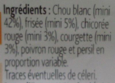 L'assiette Saveur (Chou blanc, Frisée, Chicorée rouge, Courgette, Poivron rouge & Persil) 2/3 portions - Ingrediënten - fr