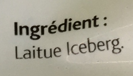 Laitue Iceberg - Ingrédients
