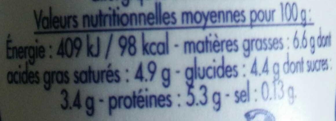 Caillé Nature - Informations nutritionnelles