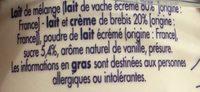 Caillé vanille - Ingrediënten