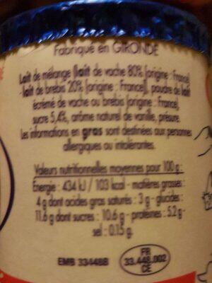 Caillé vanille - Voedingswaarden