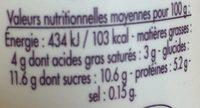 Caillé Vanille - Informations nutritionnelles - fr