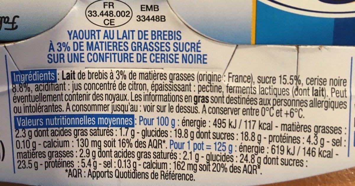Yaourt de Brebis (Cerise Noire) - Ingrédients