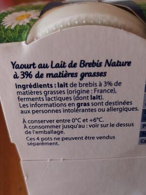 Yaourt de brebis - Ingrediënten