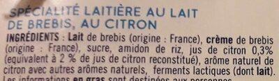 Douceur de brebis citron - Ingrediënten - fr