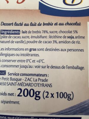 Crème chocolat au lait de brebis - Ingredients
