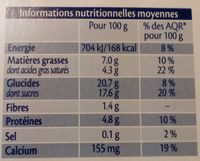 Crème chocolat au lait de brebis - Nutrition facts