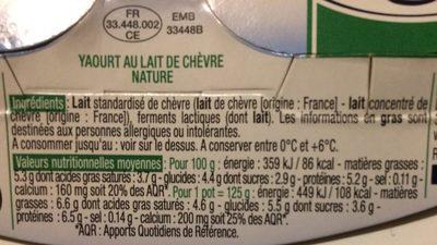 Yaourt de chevre - Ingrédients - fr