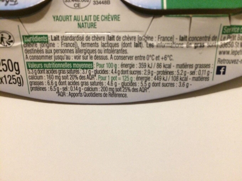 Yaourt de chevre - Informations nutritionnelles - fr