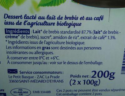 Crème au café au lait de brebis bio - Ingredients