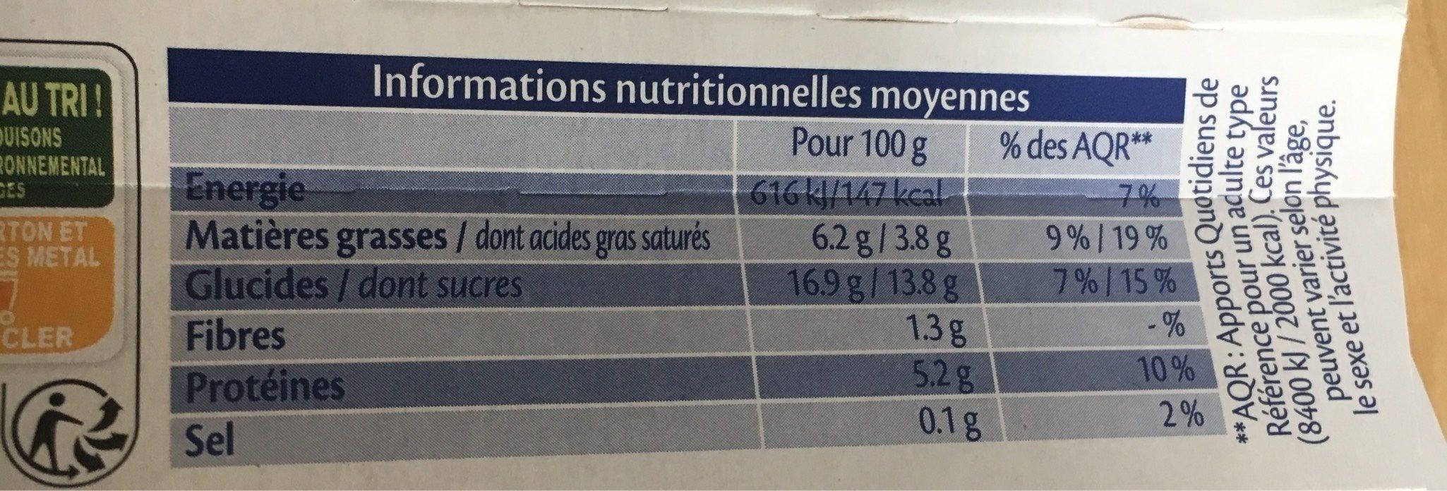 Crème au chocolat - Voedingswaarden