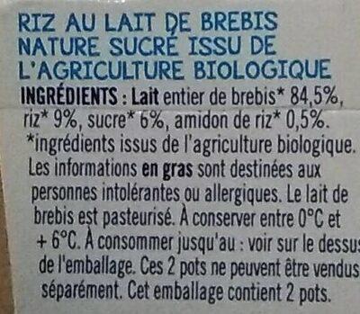 Riz au lait nature - Ingrédients - fr